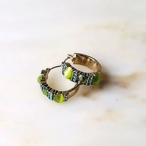 Vintage | Monet | Green Stone Hoops
